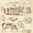 Village houses sketch with food — Image vectorielle