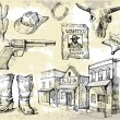 Royalty-Free Stock Векторное изображение: Hand drawn wild west set