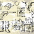 Royalty-Free Stock Imagem Vetorial: Hand drawn wild west set