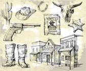 Hand drawn wild west set — Stock Vector