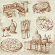 Hand drawn Venice set — Stock Vector #9247215