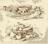 Croquis de maisons de village avec de la nourriture — Vecteur