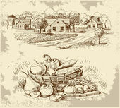Village houses sketch with food — Stockvector