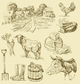 Farm collection-handmade drawing — Stockvector
