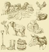 Farm collection-handmade drawing — Stock Vector
