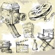 Movie camera-hand drawn — Imagen vectorial