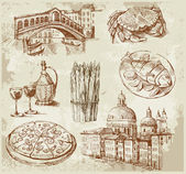 Conjunto de venecia dibujados a mano — Vector de stock