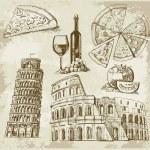 Hand drawn Rome set — Stock Vector