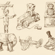 Hand drawn vintage toys collection — Image vectorielle