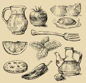 Yemek seti — Stok Vektör