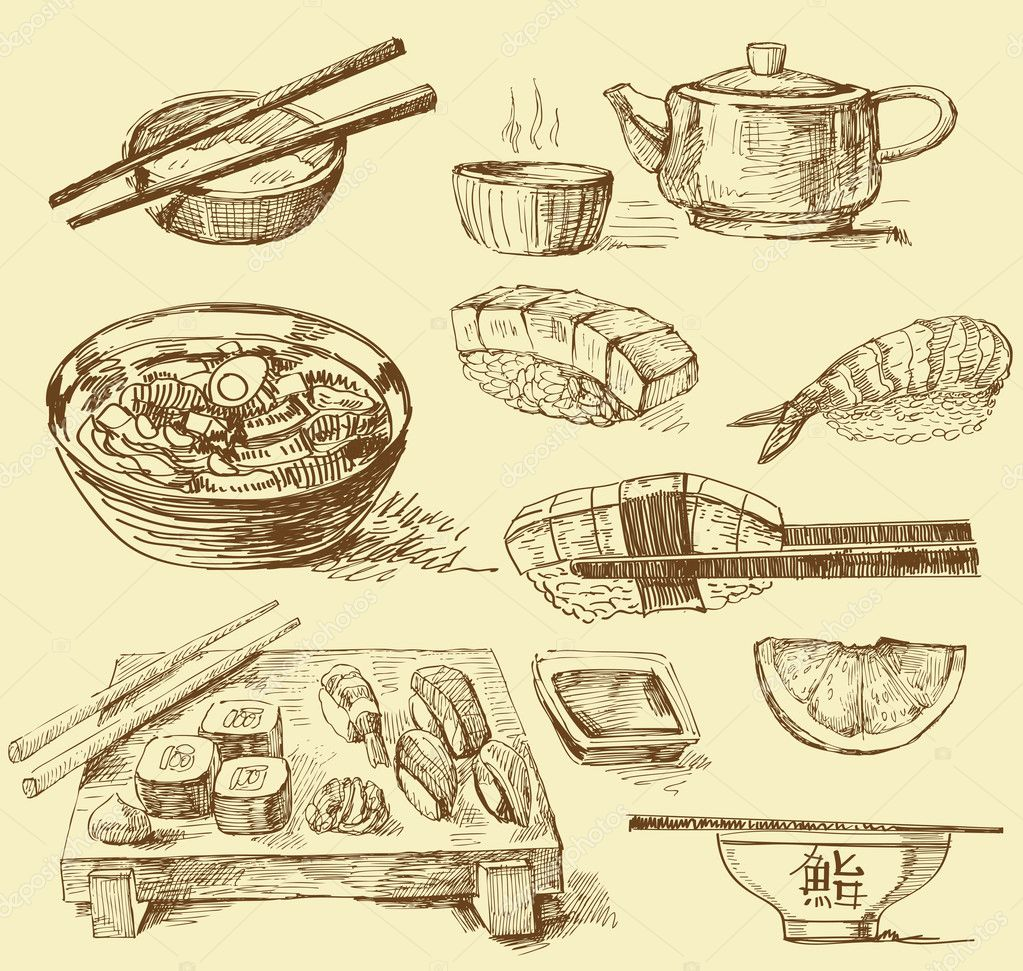 Japanese food-original hand drawn collection  Stock Vector #9826323
