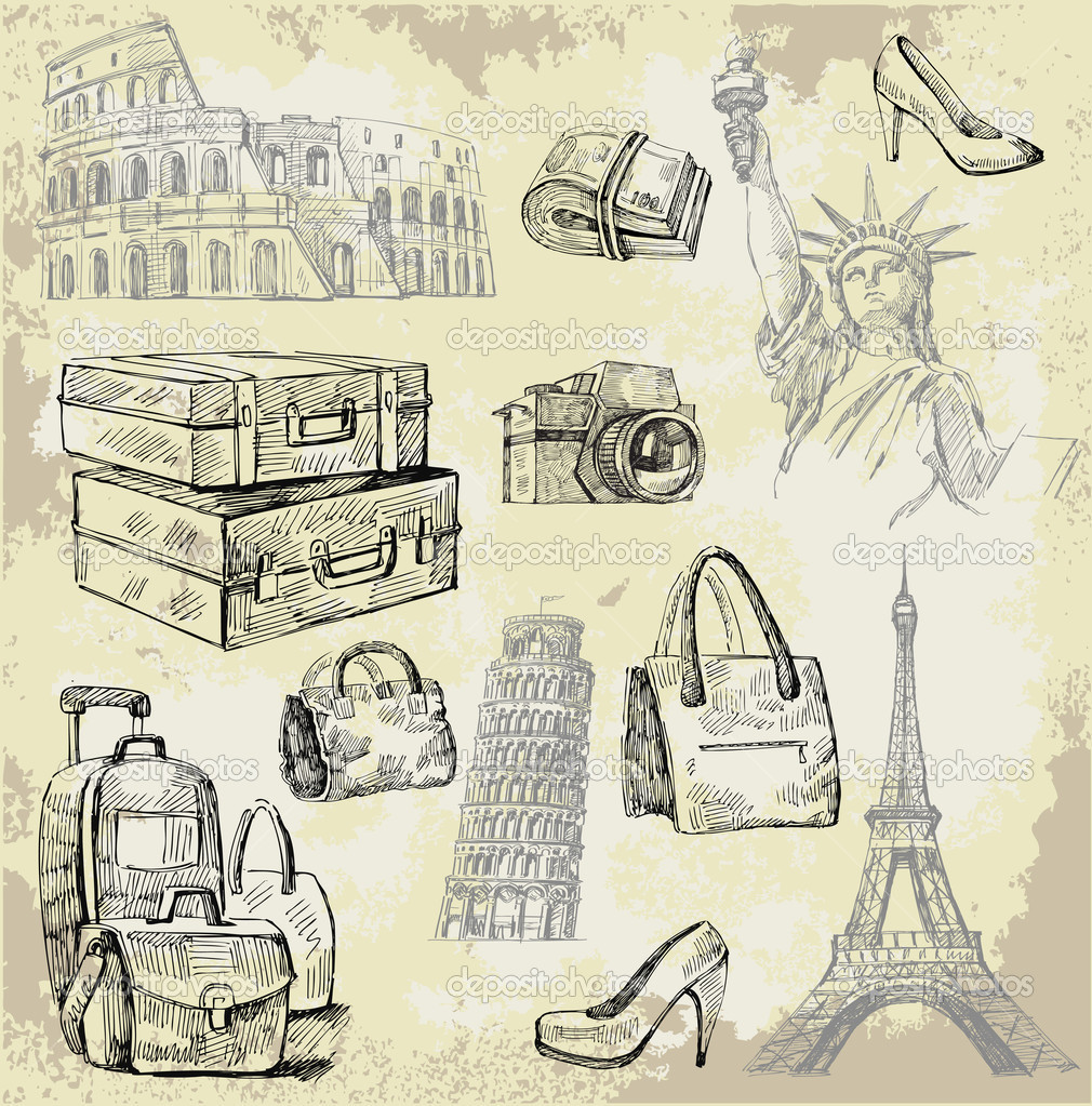 Set of old vintage suitcases — Stock Vector #9826394