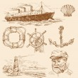Nautical set — Stock Vector #9908379