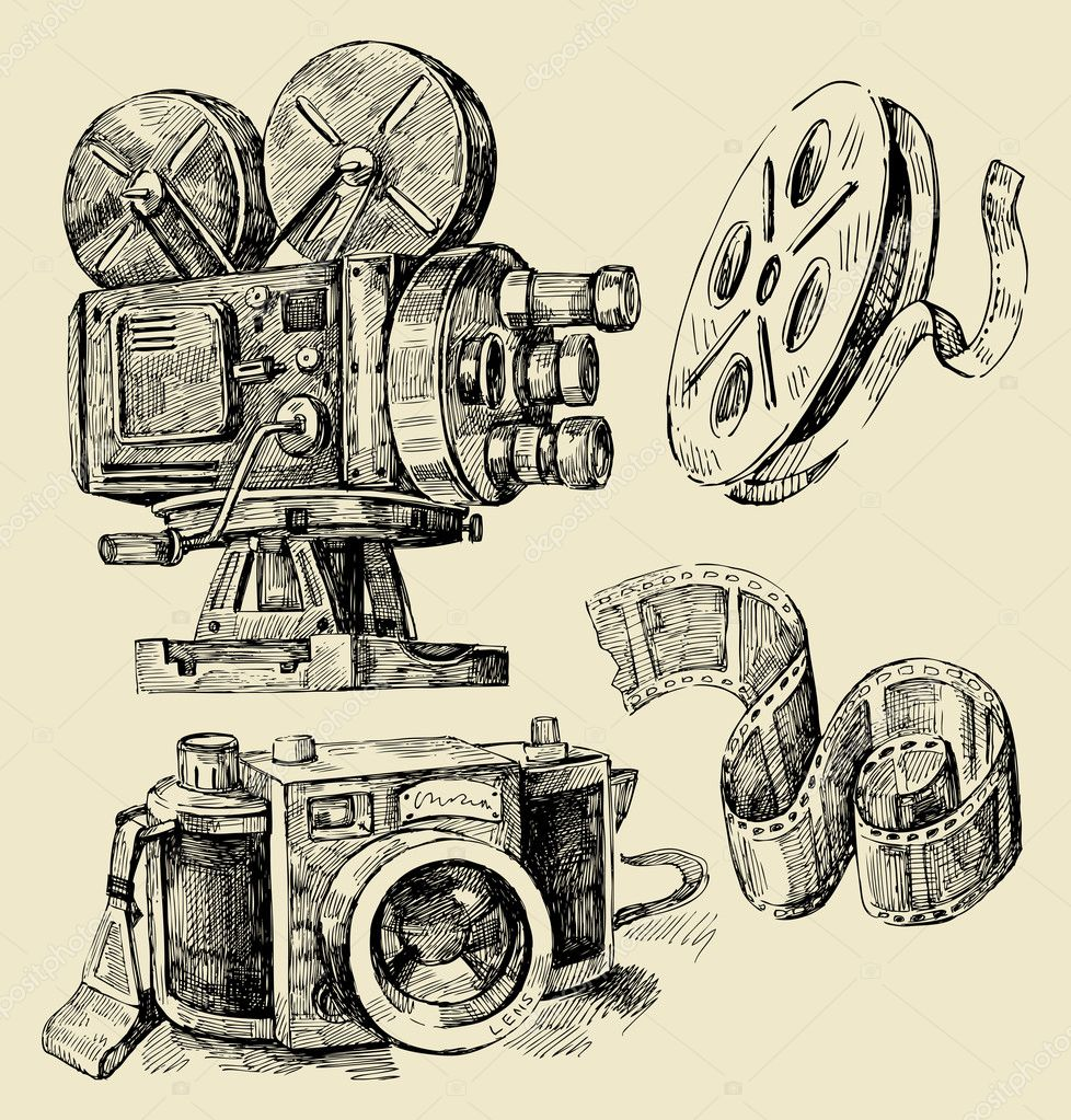 Camera Line Drawing Tattoo : Cameras hand drawn — stock vector bioraven