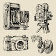 Movie camera hand drawn — Vettoriali Stock