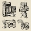Movie camera hand drawn — Imagen vectorial