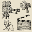 Movie camera hand drawn — Stock Vector