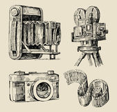 Movie camera hand drawn — Stock Vector