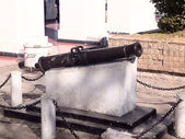 The most ancient Spanish cannon in the city of San Cristobal de Las Casas — Stock Photo