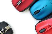 Barevné bezdrátové myši — Stock fotografie