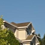 Macro house roof against blue sky — Stock Photo #9136403