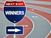 победители дорожный знак — Стоковое фото