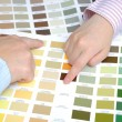 Stock Photo: Business with swatches to decide color of office