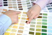 Business with swatches to decide the color of the office — Stock Photo