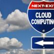 Cloud computing road sign - Stock Photo