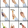 Royalty-Free Stock Photo: Set of hands with tools