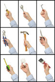 Set of hands with tools — Stock Photo