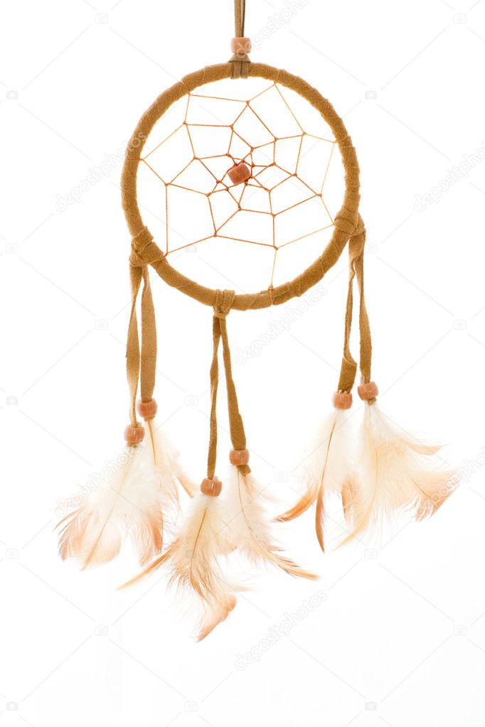 Handmade dreamcatcher from brown chamois — Stock Photo #8878928