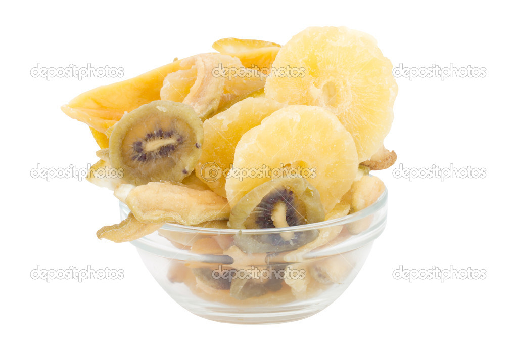 Dried fruits in the plate, consist of mango, pineapple, banana, muskmelone and kiwi — Stock Photo #9061970