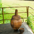 The bottle made of coconut nut with traditional cashew drink. Go — Stockfoto