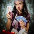 Fortune-teller predicing the cards - Stock Photo