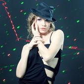 Fashion portrait of beautiful dancing girl — Stock Photo