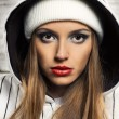 Fashion portrait of beautiful hip-hop woman - Stock Photo