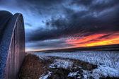 Sunset on Prairie Winter — Stock Photo