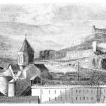 Mtskete Church, near Tiflis, vintage engraving. — Stock Photo