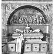 The fountain of the Monks, has the Certosa of Pavia. - Drawing o — Stock Photo