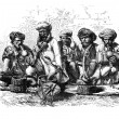 Snake charmers of India. - Drawing Sellier, vintage engraving. — Stock Photo