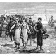 The. Cancale the boats return, statement of Eugene Feyen. - Draw — Stock Photo