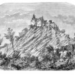 Photo: Chateau of Sainte-Suzanne (Mayenne). - Drawing Catenacci, vintag