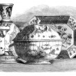 Earthenware of Rouen Painted. - Drawing of Edward Garnier, vinta — Stock Photo