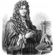 Huygens. - Drawing of Edward Garnier. of Edelinck after, vintage — Stock Photo