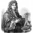 Huygens. - Drawing of Edward Garnier. of Edelinck after, vintage - Stock Photo