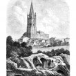 Les Arenes and the steeple of St. Eutropius, a Saintes, vintage — Stock Photo