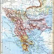 Stock Photo: The map of Balkan Peninsula (Turkey, Greece, Serbia, Romania and