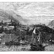 West Point Island or Albatross Island vintage engraving — Stock Photo