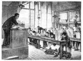Salón de 1874. pintura. -un dibujo lecciones en la escuela cochin, por una — Foto de Stock